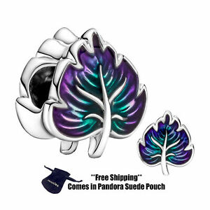 Authentic Pandora Sterling Silver Charm 799542C01 Purple & Green Leaf
