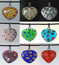10 x Mixed Colour Millefiori Glass Heart Pendants 20mm  - - UK Seller