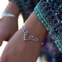 Retro Bangle Boho Triangle Hollow Bracelet Cuff Silver Plated Jewelry Novelty