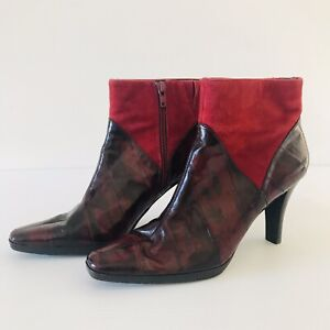 Moda Spana Red Leather Ankle Boot Size 37 Suede Upper Burgundy Pointed Toe