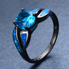 New Women Jewelry 925 Silver Oval Cut Sapphire Blue Opal Wedding Engagement Ring