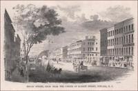NEWARK, NEW JERSEY, BROAD STREET antique engraving original, MATTED 1855