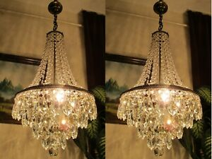 PAIR OF Antique VNT. FRENCH Basket style Crystal Chandelier Light  Lamp 1960's