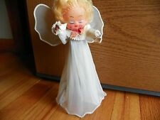Christmas Tree Topper Angel Vintage Antique  Sheer rubber face paper hands & arm