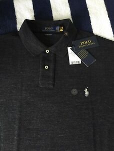 BNWT Mens Ralph Lauren Custom Slim Fit Dark Grey Polo Shirt In XL