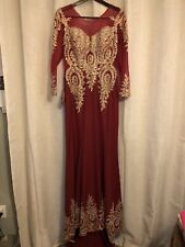 Mermaid Party Dress w/Gold Applique Formal Wedding Evening Pageant Gown Sz 14