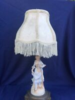 Vintage Figurine Lamp Bisque Ornate Base Fringe Shade French Victorian Style