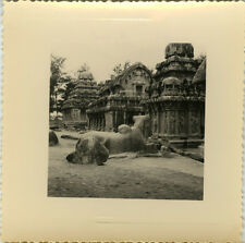 PHOTO ANCIENNE - VINTAGE SNAPSHOT - INDE MAHABALIPURAM STATUE SCULPTURE 2