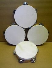 "Wood Tambourines (4-Pack) *Hand Made* with metal jingles & 6"" Fibre Skin Head"