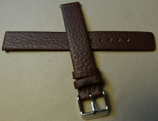 New Mens Brown Genuine Distressed Leather 16mm Watch Band Silver Tone Buckle
