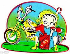 "9.5"" BETTY BOOP BIKER BABE ON BIKE MOTORCYCLE CHARACTER FABRIC APPLIQUE IRON ON"
