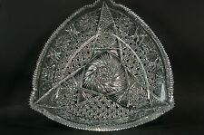 Beautiful Vintage Cut Crystal Glass Centerpiece Triangle Bowl