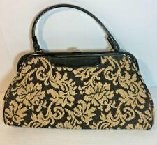 "Large Vintage Verdi Handbag Carpet Bag Black and Tan Tapestry 15"" x 8"""