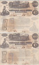 2 Consecutive 1862 $100 Confederate States Notes T-39 Cr-296 Straight Steam