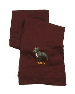 Polo Ralph Lauren Men's Red Burgundy French Bulldog Embroidered Graphic Scarf