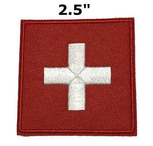 MEDIC Cross EMT Medical First Aid Embroidered Patch Iron/Sew-On Tactical Morale