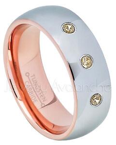 Dome Tungsten Ring, 0.21ctw Smokey Quartz Ring, November Birthstone Ring #740