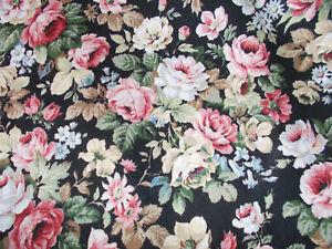 Vintage 1980s black floral fabric 4 metres x 122 cm wide upholstery dressmaking