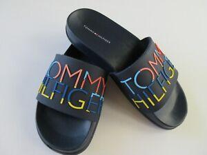 Tommy Hilfiger TWDEBINE-C Comfort Slide Sandal With Multi Color Lettering New