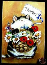MAGNIFICATS Margaret Sherry Fluffy Cat Basket Flowers Thanks Greeting Card - NEW