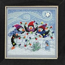 Playful Penguins Cross Stitch Kit Mill Hill 2018 Buttons Beads Winter MH141832