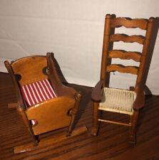 Vtg Dollhouse Miniature Furniture - Baby Crib & Rocking Chair 1:12 Nursery