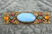 Vintage Ornate Brass Filigree Czech Blue Glass Old Clasp Pin Brooch
