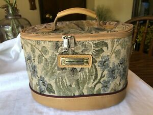 American Tourister Vintage Train Case Make up Tapestry 12 X 7 1/2 X 8 high