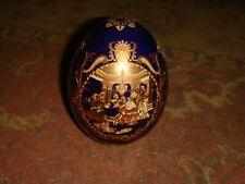 "Vintage Ceramic Satsuma Egg - Made China - 4 1/2"" Tall - Cobalt Blue with Gold"