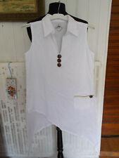 Top Chemisier tunique coton blanc sans manches BLANC DU NIL T.1 38/40