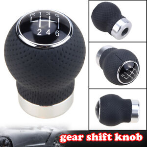 Black Leather 6 Speed Car Gear Shift Knob Shifter Lever Stick Universal Manual