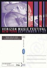 VERIZON MUSIC FESTIVAL NEW YORK ADVERTISING UNUSED COLOUR POSTCARD