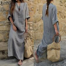 ZANZEA Autumn Women Long Sleeve Pinstriped Cotton Maxi Long Dress Kaftan Tunic