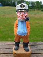 "Vintage 4½"" Hand Carved Wood Sailor Ship Captain Made By Penco Folk Art Nautical"