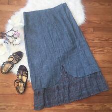 FLAX 100% Linen Layered Skirt Elastic Waist