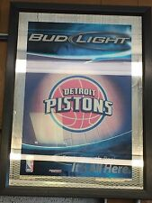 "Detroit Pistons Bud Light Mirror Framed 30"" Tall By 22"" High RARE *collectable*"