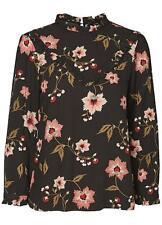 Vero Moda Black with Floral Print High Collar Viscose Blouse Size S NEW