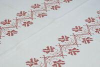 Leinen Tischdecke braune dekorative Kreuzstichstickerei allover 140 x 160