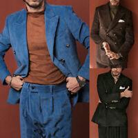 Men Corduroy Vintage Suits Pleated Pant Double-breasted Peak Lapel Party Tuxedos