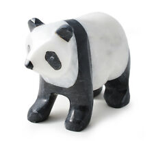"""Marble onyx black and white panda either 4"""" or 6""""  boxed gift ornament animal"""