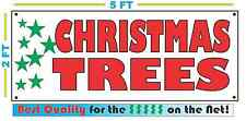 CHRISTMAS TREES w GREEN Colored Stars Banner Sign NEW Larger Size