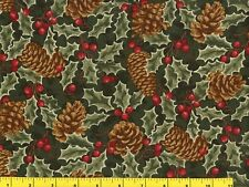 Pine Cones & Holly Red Berries on Dark Green Christmas Quilting Fabric #3208