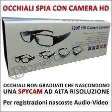OCCHIALI VISTA NON GRADUATI TELECAMERA SPIA SPYCAM HD 720p INVISIBILE CAMERA
