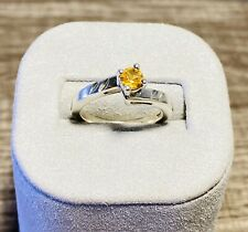 Sterling Silver Solitaire Ring set with Genuine Citrine Size 5