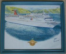 Carnival Ocean Liner Cruise Line Ship Elation Panama Art Print Framed & Signed