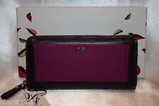 NEW DIANE VON FURSTENBERG Prune Beet Leather VOYAGE Zip Clutch Wallet Boxed $175