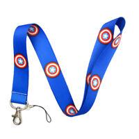 Marvel Avengers Captain America Film Blue Lanyard Neck Strap ID Holder Gift