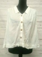 Holding Horses Ivory Cotton Button Up Sleeveless Top Size 6 Boxy Semi Sheer