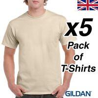 Mens Sand T Shirt 5 Pack Gildan Heavy Cotton Tee Top Plain Cheap Work Beige