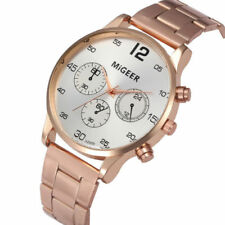 Migeer Mens Pilot Military 40mm Stainless Steel Quartz Sport Watch Gold & Silver